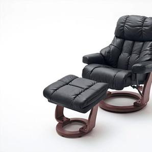 Relaxsessel XXL in schwarzem Echtleder inkl. Hocker, Gestell walnuss/nussbaum, Maße: B/H/T ca. 97/102-110/92-120 cm