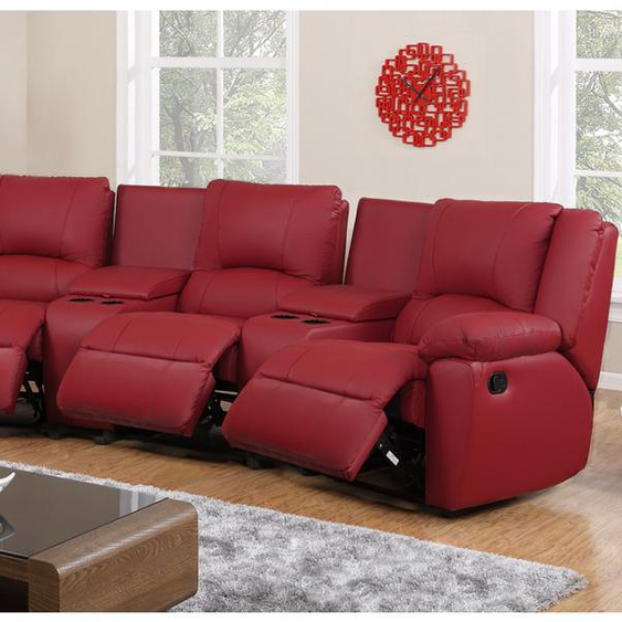 Relaxsofa 3-Sitzer AROMA - Leder - Rot