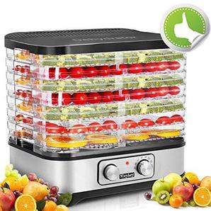 Rendio Dörrautomat mit Temperaturregler, Dörrgerät für Lebensmittel, Obst- Fleisch- Früchte-Trockner, Dehydrator, BPA-frei (7 Etagen)