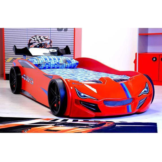 Rennwagenbett in Rot Kunststoff 90x200 cm