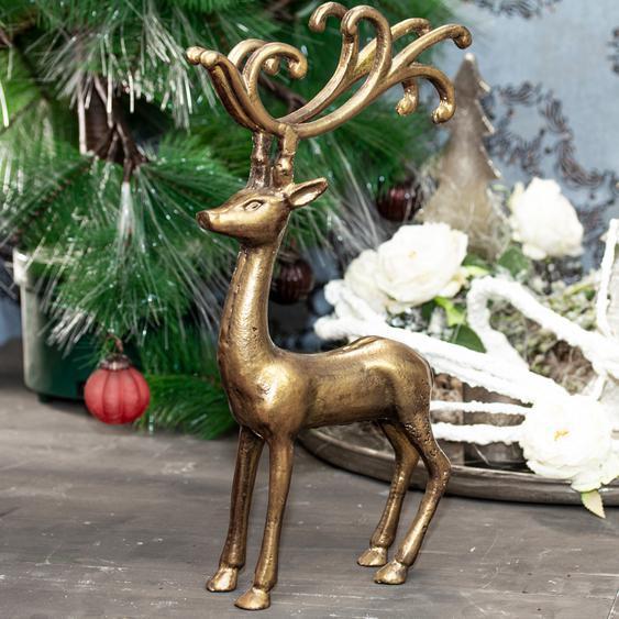 Rentier Figur Goldfarbend, Gartenfigur aus Aluminium Tierfiguren Dekoration