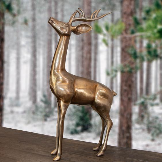 Rentier Figur, Groß, Goldfarbend, aus Aluminium Tierfiguren Dekoration