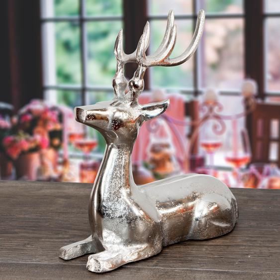 Rentier Figur, liegend, aus Aluminium Tierfiguren Dekoration