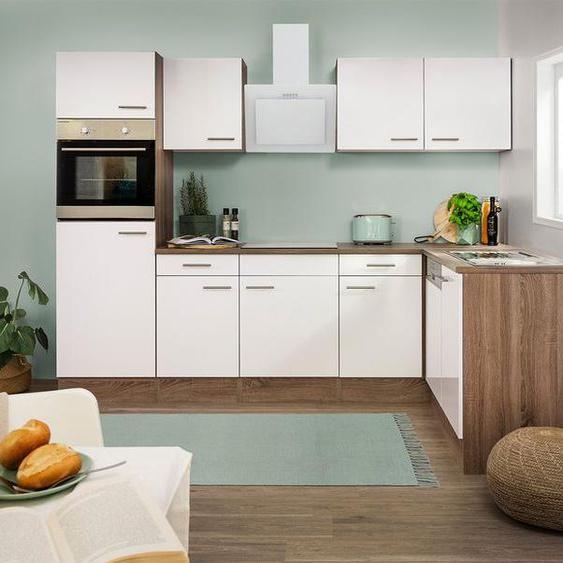 respekta Küchenzeile, B 280 cm, mit Winkelschrank, mit Elektrogeräten, Schräghaube