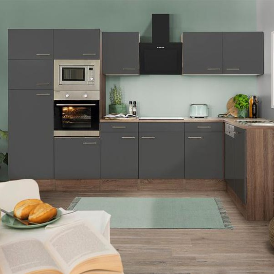 respekta Küchenzeile, B 340 cm, mit Winkelschrank, mit Elektrogeräten, Eiche York Dekor