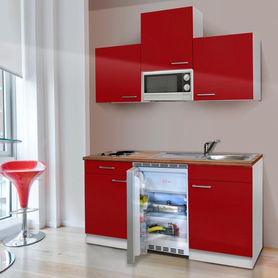 RESPEKTA Küchenzeile KB150WWMIC EEK A+ Einheitsgröße rot Küchenzeilen mit Geräten -blöcke Küchenmöbel Arbeitsmöbel-Sets