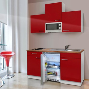 RESPEKTA Küchenzeile KB150WWMIC, mit E-Geräten, Gesamtbreite 150 cm F (A bis G) B: rot Küchenzeilen Geräten -blöcke Küchenmöbel
