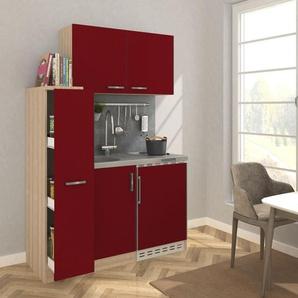 RESPEKTA Küchenzeile, mit Duo-Kochplattenmulde und Kühlschrank, Breite 130 cm F (A bis G) B: rot Küchenzeilen Geräten -blöcke Küchenmöbel Küchenzeile