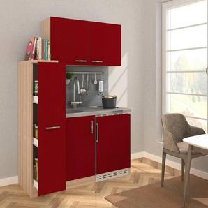 Küchenzeile, mit Duo-Kochplattenmulde und Kühlschrank, Breite 130 cm
