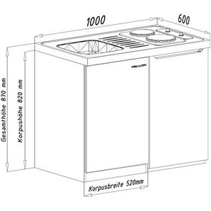 RESPEKTA Küchenzeile, mit Glaskeramikkochfeld und Kühlschrank, Breite 100 cm F (A bis G) B: rot Küchenzeilen Geräten -blöcke Küchenmöbel Küchenzeile