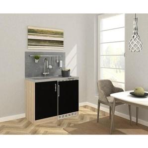 Respekta Miniküche E-Geräte, Spüle , Eiche , Metall , 100 cm