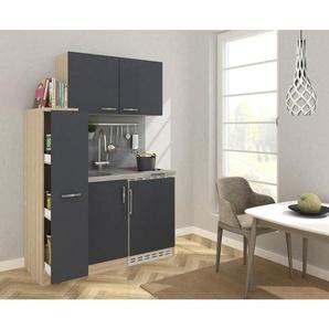 Respekta Miniküche E-Geräte, Spüle , Eiche , Metall , 130 cm
