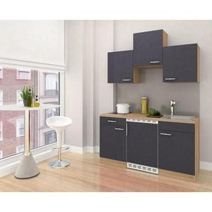 Respekta Miniküche E-Geräte, Spüle , Grau, Eiche , 1 Schubladen , 150 cm