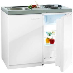 RESPEKTA Miniküche, mit DUO Kochmulde und Kühlschrank F (A bis G) B/H/T: 100 cm x 88 60 weiß Küchenzeilen Geräten -blöcke Küchenmöbel Miniküche