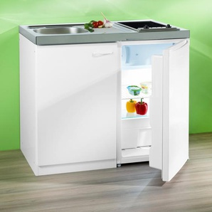 RESPEKTA Miniküche, mit Glaskeramik-Kochfeld und Kühlschrank F (A bis G) B/H/T: 100 cm x 88 60 weiß Küchenzeilen Geräten -blöcke Küchenmöbel Miniküche