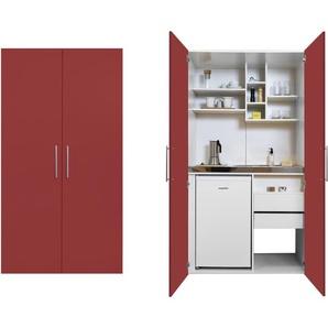 RESPEKTA Miniküche, mit Glaskeramik-Kochfeld und Kühlschrank F (A bis G) B/H/T: 104 cm x 192 66,6 rot Singleküchen Küchenzeilen -blöcke Küchenmöbel Miniküche