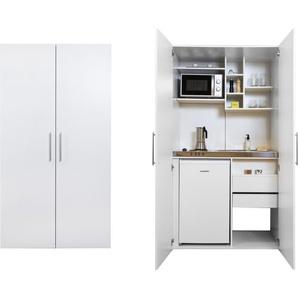 RESPEKTA Miniküche, mit Kochplatten, Kühlschrank und Mikrowelle F (A bis G) B/H/T: 104 cm x 192 66,6 weiß Singleküchen Küchenzeilen -blöcke Küchenmöbel Miniküche
