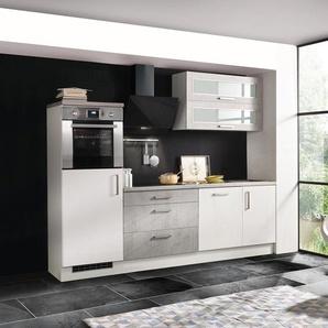respekta-Premium-Küchenblock in Betonoptik - schwarz - Edelstahl -