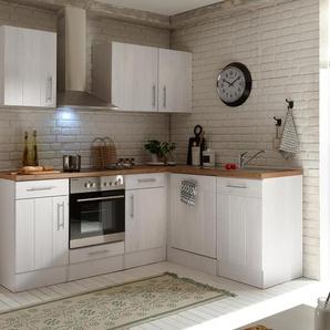 respekta-Premium-L-Küchenblock »Landhaus« - silber - Edelstahl -
