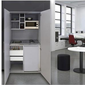 respekta Schrankküche, B 104 cm, mit Kühlschrank, Auflagenspüle mit Duokochfeld