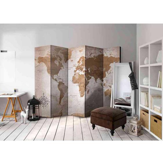 Retro Design Paravent mit Weltkarten Motiv 225 cm breit