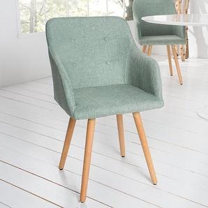 Exklusiver Design Stuhl SCANDINAVIA MEISTERSTÜCK Buche Gestell lime mit Armlehne im Retro Trend