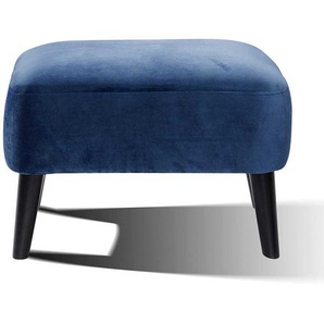 Retro Fu�hocker in Blau Samt 65 cm breit