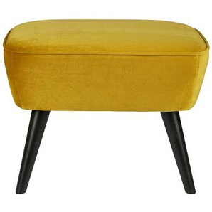 Retro Hocker in Gelb Stoff