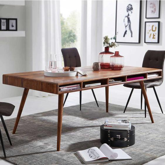 Retro Holztisch aus Sheesham Massivholz 200 cm breit