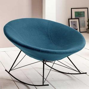 Retro Schalen Sessel in Petrol Webstoff Schaukelfunktion