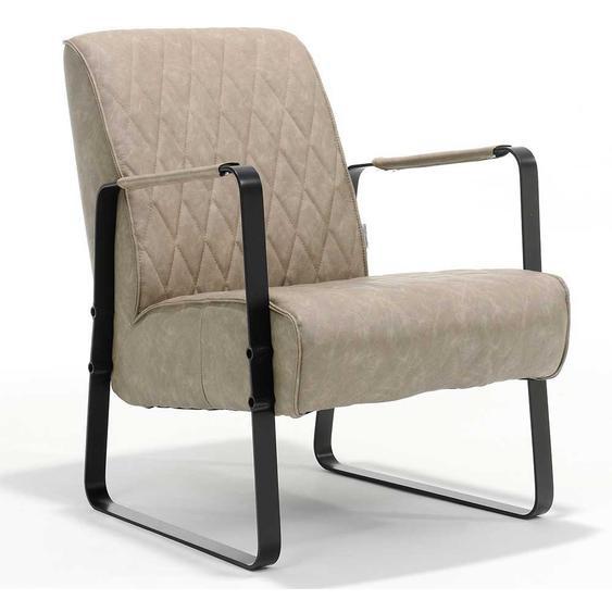 Retro Sessel in Beige Kunstleder