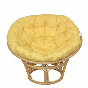 Retro Sessel in Beige Rattan Gelb Kissen