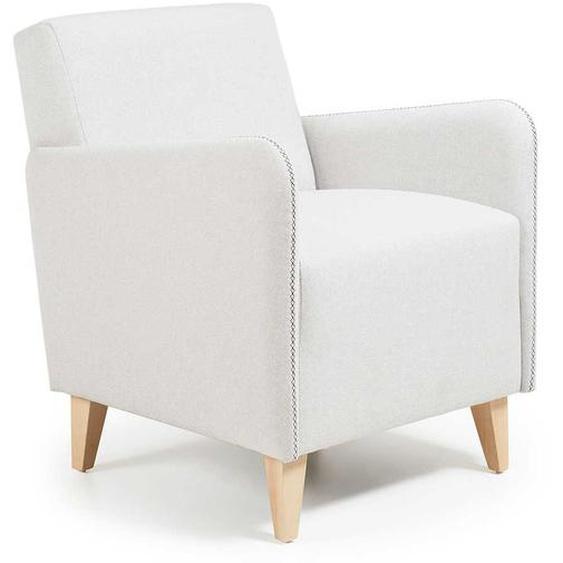 Retro Sessel in Beige Stoff Buche Massivholz