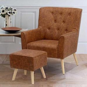 Retro Sessel in Braun Kunstleder Fu�hocker (2-teilig)