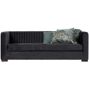 Retro Sofa in Dunkelblau Samtbezug