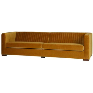 Retro Sofa in Gelb Webstoff