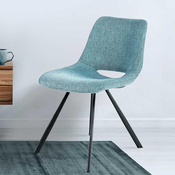 Retro Stühle in Blau Webstoff Metallgestell (2er Set)
