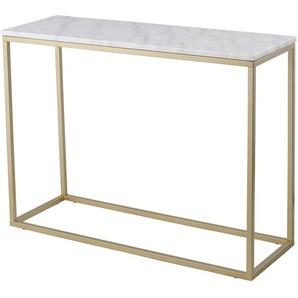 RGE Accent, Rechteckiger Konsolentisch Marmor und Goldrahmen im modernen klassischen Stil, Weiß, marmoriert, B 100 cm, H 75 cm, T 35 cm