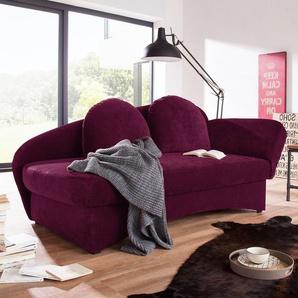 Ridgevalley Recamiere Eresburg Aubergine Velours 182x85x86 cm (BxHxT) mit Schlaffunktion/Bettkasten Landhaus