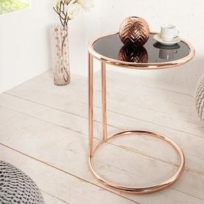 riess-ambiente Beistelltisch »ART DECO 40cm kupfer / schwarz«, Wohnzimmertisch · Glas-Platte · Metall-Gestell · Nachttisch · Modern Design