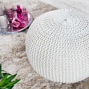 riess-ambiente Sitzhocker »LEEDS 50cm weiß«, mit Bezug aus Baumwolle