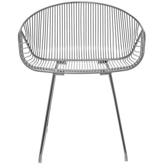 River Lounge Sessel aus Metall in Silber 60 x 73 x 54 cm