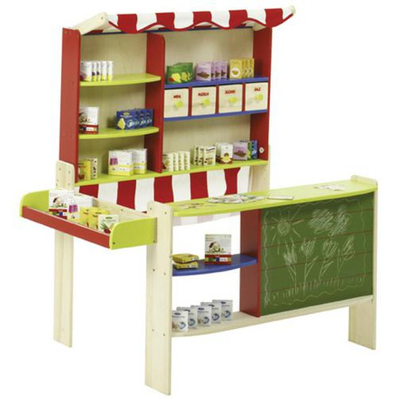 Roba Kaufladen , Mehrfarbig , Holz, Kunststoff, Textil, Karton , Schichtholz , 98x116x76 cm
