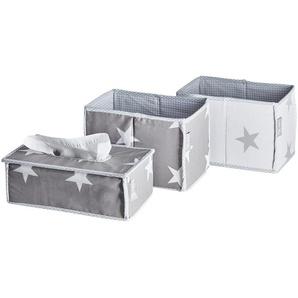 Roba Pflegeorganizer, 3er-Set   Little Stars | grau | Bezug: 65% Polyester, 35% Baumwolle, Füllung: Pappe |