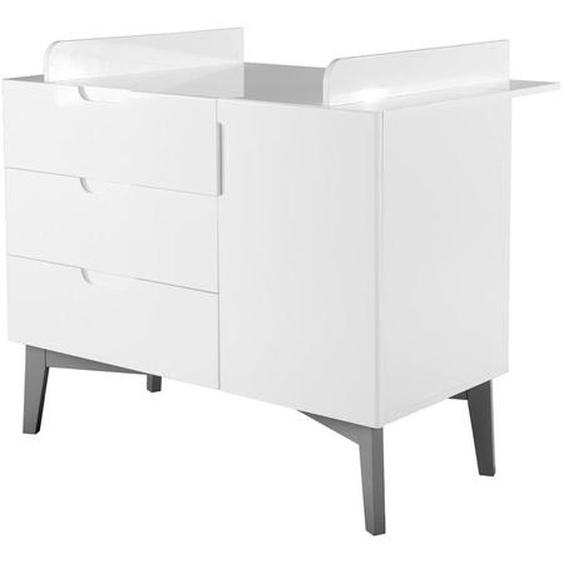 Roba Wickelkommode roba Retro Weiß , Holzwerkstoff , 1 Fächer , 3 Schubladen , 117.5x103x78 cm