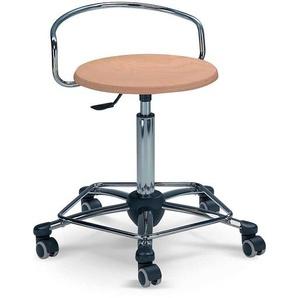 Rollbarer Sitzhocker aus Schichtholz und Stahl h�henverstellbar