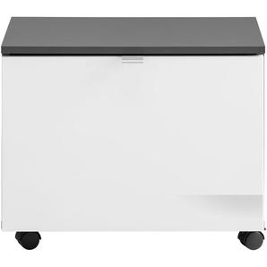 Rollcontainer , grau, 55x34x47cm, FSC-Zertifikat, »Beach«, , , Hochglanz-Fronten, FSC®-zertifiziert, trendteam