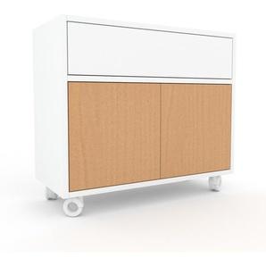 Rollcontainer Weiß - Rollcontainer: Schubladen in Weiß & Türen in Buche - 77 x 68 x 35 cm, konfigurierbar