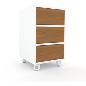 Rollcontainer Weiß - Moderner Rollcontainer: Schubladen in Eiche - 41 x 68 x 47 cm, konfigurierbar