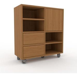 Rollcontainer Eiche - Rollcontainer: Schubladen in Eiche & Türen in Eiche - 79 x 87 x 35 cm, konfigurierbar